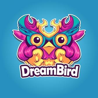 Logotipo coruja rosa esport