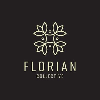 Logotipo cosmético natural com uma linda flor,