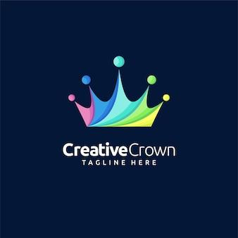 Logotipo criativo da coroa com conceito colorido Vetor Premium