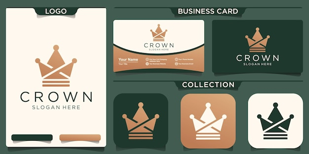 Logotipo criativo da coroa e modelo de ícone