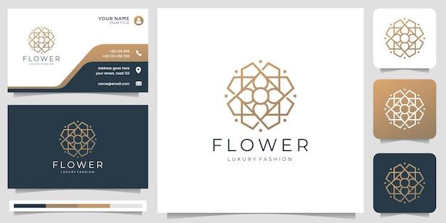 Logotipo criativo da flor rosa. projeto de forma geométrica com ilustração de modelo de cartão de visita.