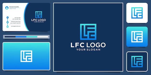 Logotipo criativo da letra l, f e c inicial no conceito de forma quadrada. inspiração do logotipo e do cartão de visita.