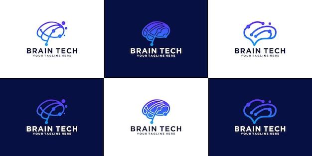 Logotipo criativo da tecnologia de dados do cérebro da coleção