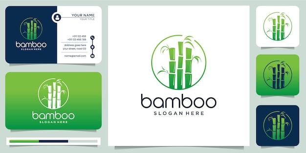 Logotipo criativo de bambu. para empresa de negócios, quadro, folha, panda, coleção., estilo moderno e ilustração do cartão de visita.