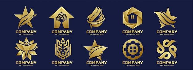 Logotipo criativo de ouro abstrato pacote para empresa