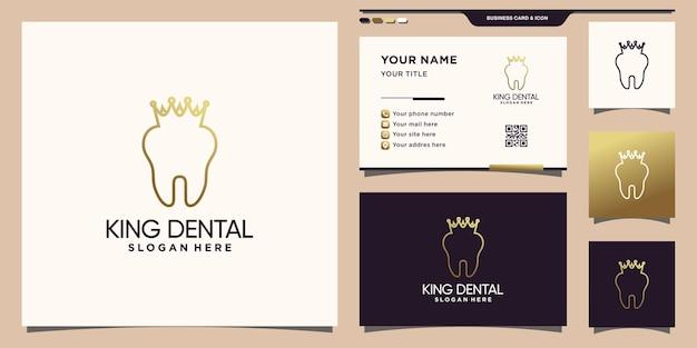 Logotipo criativo dental e king crown com estilo de arte de linha e design de cartão de visita premium vector