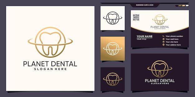 Logotipo criativo dental e planeta com estilo de arte de linha e design de cartão de visita premium vector