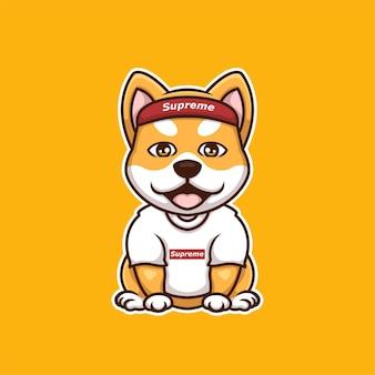 Logotipo criativo do doge supremo shiba inu