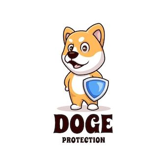 Logotipo criativo doge shiba inu proteção segurança desenho