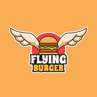 Logotipo criativo flying burger food dos desenhos animados