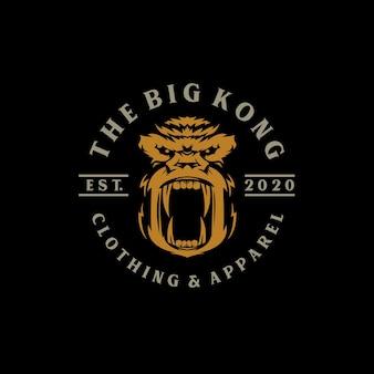 Logotipo criativo macacos emblema etiqueta kong rugido selo ouro zangado