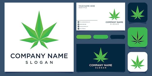 Logotipo criativo maconha e cartão de visita premium vektor
