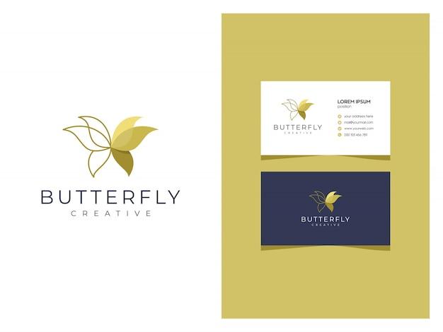 Logotipo criativo moderno borboleta de luxo com cartão