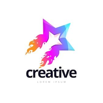 Logotipo criativo vibrante do fogo da estrela