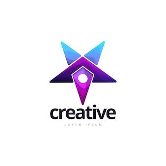 Logotipo criativo vibrante do ponto da estrela