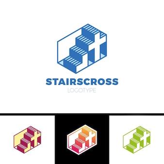 Logotipo cristão com escadas e cruz em estilo de linha simples