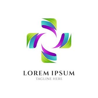 Logotipo cruz médico abstrato