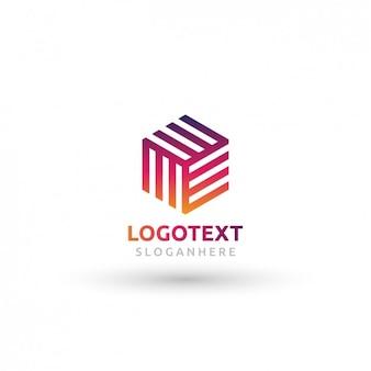 Logotipo cubo poligonal com efeito de gradiente