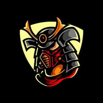 Logotipo cyber samurai e sport mascot