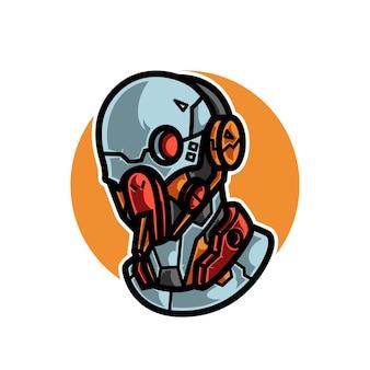 Logotipo cyborg head e sport mascot