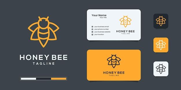 Logotipo da abelha de mel com inspiração em estilo de arte de linha moderna