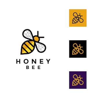 Logotipo da abelha de mel Vetor Premium