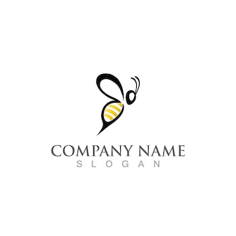 Logotipo da abelha do favo de mel e imagem vetorial de símbolo