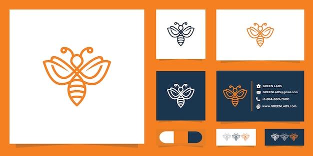 Logotipo da abelha e modelo de conjunto de cartão de negócios