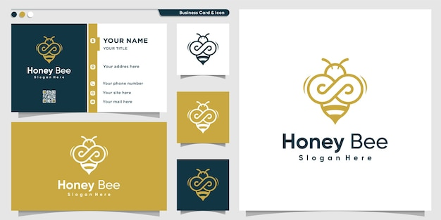 Logotipo da abelha mel com estilo de arte de linha infinita dourada e design de cartão de visita