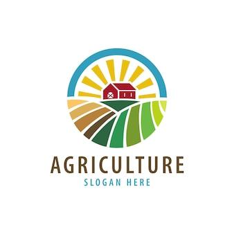 Logotipo da agricultura e casa de fazenda