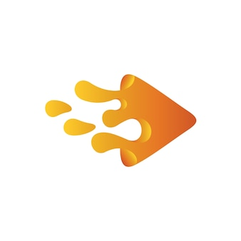 Logotipo da água da pintura do triângulo, logotipo líquido do jogo