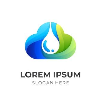 Logotipo da água em nuvem, nuvem e água, combinação de logotipo com estilo 3d colorido