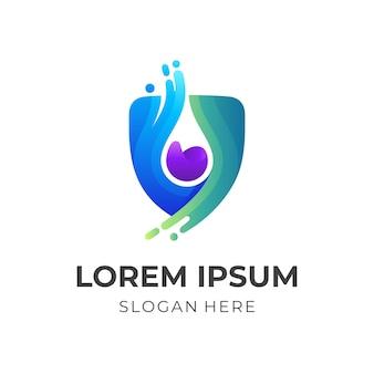Logotipo da água escudo, escudo e água, logotipo de combinação com estilo colorido 3d