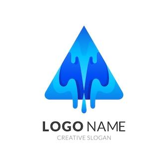 Logotipo da água letra a, letra a e água, logotipo de combinação com estilo de cor azul