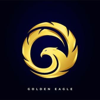 Logotipo da águia com asas circulares douradas de luxo e futurista