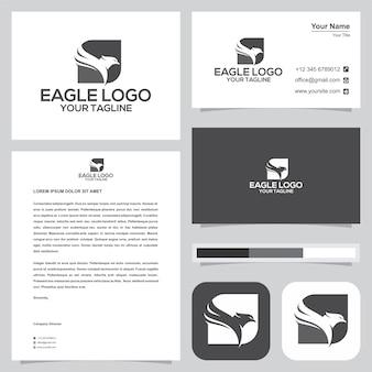 Logotipo da águia e cartão de visita. vetor premium