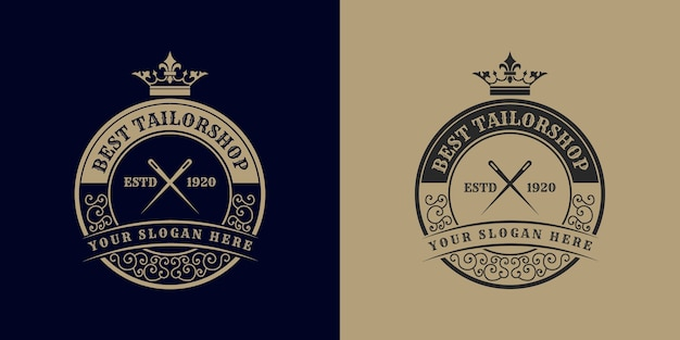 Logotipo da alfaiataria de costura com coroa