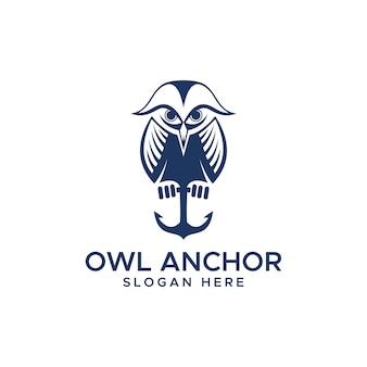 Logotipo da âncora da coruja