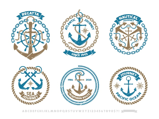 Logotipo da âncora, emblema náutico. conjunto