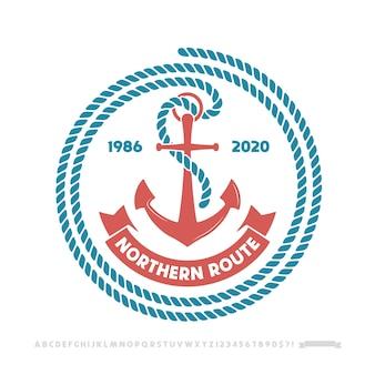 Logotipo da âncora, emblema náutico.