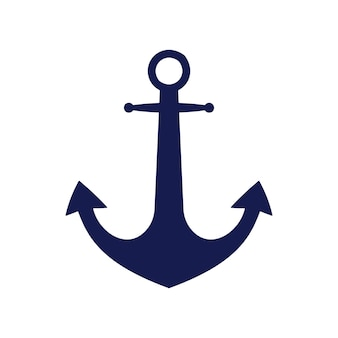Logotipo da âncora plana azul isolado no fundo branco. equipamento marinho de silhueta. ícone de viagens e turismo do vetor.