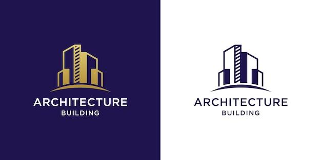 Logotipo da arquitetura do edifício com design em ouro