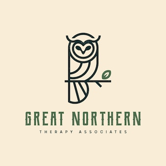 Logotipo da arte da linha da coruja