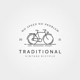 Logotipo da arte da linha de bicicleta tradicional de bicicleta vintage