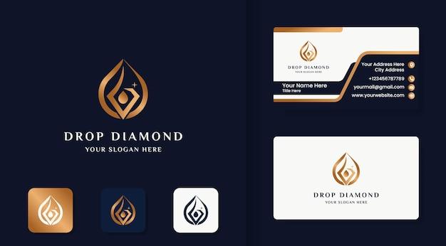 Logotipo da arte da linha de gotas de diamante e design de cartão de visita