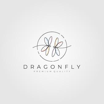 Logotipo da arte da linha dragonfly minimalista