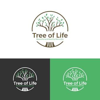 Logotipo da árvore bonita saudável naturalmente