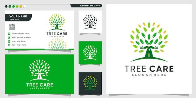 Logotipo da árvore com conceito de cuidado verde e modelo de design de cartão de visita premium vector