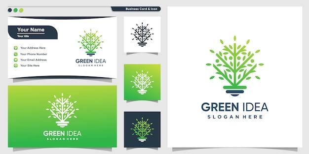 Logotipo da árvore com estilo verde inteligente e design de cartão de visita, verde, árvore
