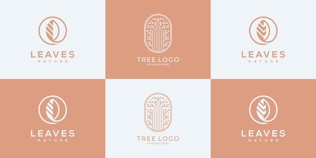 Logotipo da árvore da coleção com modelos de design de logotipo de conceito exclusivo